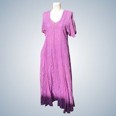 Long Purple Dress Lace and Gauze 1980's Good Condition Size Lg
