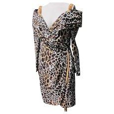 Animal Print Sexy Designer Dress Quality Unworn 1980's Vintage Roselli Size 12