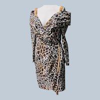 Designer Dress Quality Animal Print Unworn 1980's Vintage Roselli Size 12