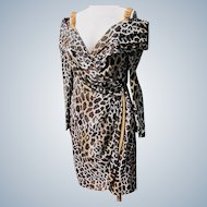 Designer Dress Quality Animal Print Unworn 1980's Vintage Roselli Size 12