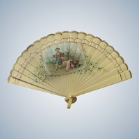 Antique Fan Hand Painted Celluloid Scene with Dog