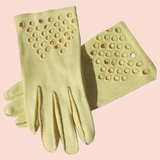 Yellow Gloves Hand Stitched Perfect Size 6 1/2