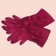 Unworn Gloves Magenta Pink Nylon Unworn 1970's USA Vintage