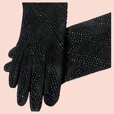 Black Gloves Beaded 1940-50's Excellent Unworn Condition Size 6 1/2