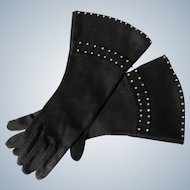 Black Gloves Long with Rhinestones 1940's-50's Unworn Perfect Size 6 1/2