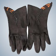 Unworn Ladies Gloves Brown 1940-50's EX. Condition Cotton Leather Trim