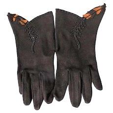 Unworn Ladies Gloves Brown 1940-50's EX. Condition Cotton Leather Trim