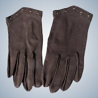 Brown Gloves Beaded Size 6 1/2 Unworn Hand Stitched  Suede like 1940's