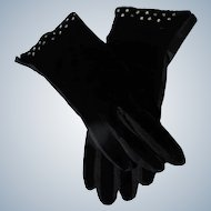 Black Velvet Gloves Rhinestone Detail Unworn 6 1/2 From 1950's