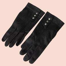 Black Gloves MOP Buttons US Pat Philippines 1940's - 50's Size 7 1/2 Unworn Hand Stitched