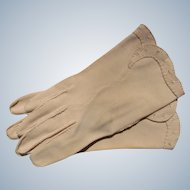 Gloves Hand Stitched Beige Cresendoe Size 6 Perfect 1940's 1950's