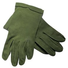 Cresendoe Cotton Gloves in Olive Green Hand Stitched Size 6 1940's or 50's