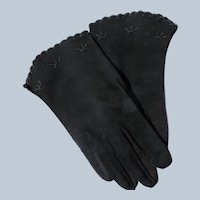 Black Gloves Hand Stitched 1940's 50's Unworn Size 6 1/2 Embroidery Perfect