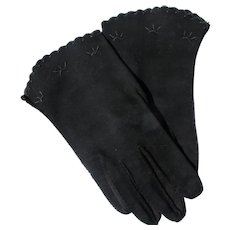 Hand Stitched Gloves Black 1940's 50's Unworn Perfect Size 6 1/2 Embroidery