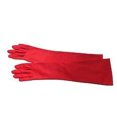Long Red Gloves Nylon 1950's Unworn Crescendoe Caresse Size 6 1/2