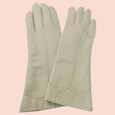 Vinyl Gloves Lined 1950's 60's Perfect Unused Condition Beige Size 8