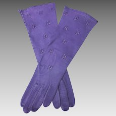 Purple Kid Gloves French Soft Leather Vintage Never Used Small