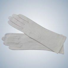 Kid Gloves Silk Lining Italy Off White Size 7 Unworn