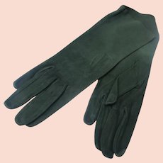 Kid Gloves Forest Green Suede Perfect Unworn