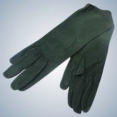Kid Gloves Forest Green Suede Perfect Unworn