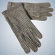 Vintage Gloves Houndstooth Pattern Crescendoe 6 1/2 Leather Tailored