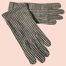 Vintage Gloves Houndstooth Pattern Crescendoe 6 1/2 Leather Tailored