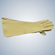 Long Yellow Gloves Size 6 1/2 1940's 50's EX Condition Unworn Hand Stitching Fabric
