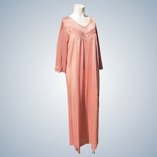 Nightgown Un-worn Nylon Fawn Lace Practical Med 14-16