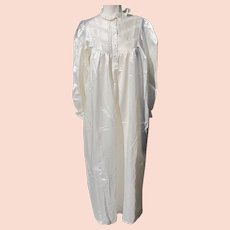 Nightgown Satin Lined in Cotton Winter White Long Sleeves Never Worn