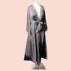 Nightgown Robe Black Vintage Med. Size 8-10