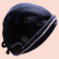 1940's Velvet Hat with Rhinestones Bows Size 22