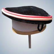 1940's Velvet Hat Satin Trim Coral Pink