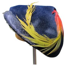 Velour Hat with Feather Navy Blue 1940's