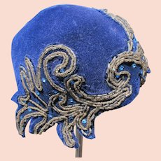 Vintage Hat Jeweled Czechoslovakian Simone Glass Beaded Work Rhinestones