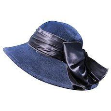 Blue Felt Hat Satin Bow Wide Rim