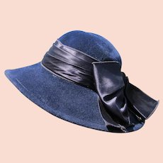 Blue Felt Hat Satin Bow Wide Rim