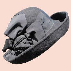 Woman's 1940's Hat Wool Felt Black Wide Rim with Ribbon