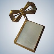Locket Pin with MOP Book Bow Pictures