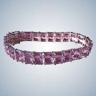 Amethyst Tennis Bracelet Double Row 925 Silver Double Lock