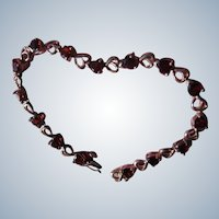 Sterling and Garnet Bracelet Vintage Hearts Tennis Bracelet