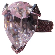 Bling Ring 925 Silver Huge Stone Tear Drop Cut Faux Pave