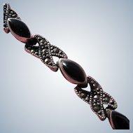 Sterling Silver Bracelet with Onyx Stones 1980's Chain Bracelet
