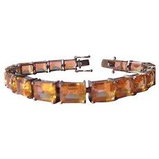 Bracelet Sterling Silver Citrine Color Stones Double Lock