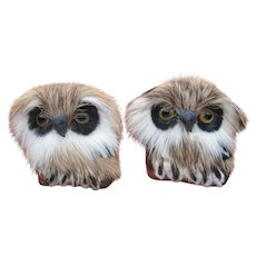Owl Pins of Feather Indian Jewelry 1930's