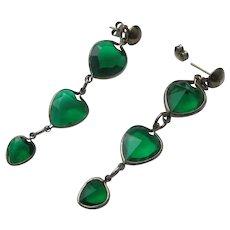Long Earrings Green Hearts Vintage Lightweight Unworn