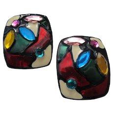 Bright Color Earrings Pierced Lightweight Unworn Versatile Rhinestones 1980's