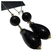 Long Lightweight Earrings Black Plastic Beads 1980's
