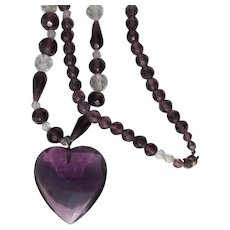 Long Crystal Necklace with Amethyst Purple Color Heart