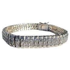 Sterling Silver Faux Diamond Tennis Bracelet Never Worn