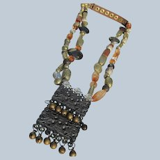 Unique Necklace of Beads and Bells with Leather Long